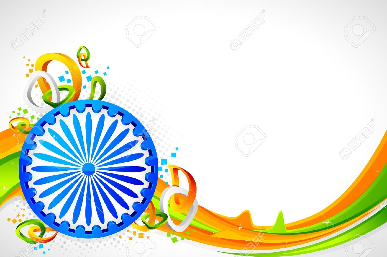 illustration of Ashok wheel on abstract tricolor Indian flag background Stock Vector - 11779482