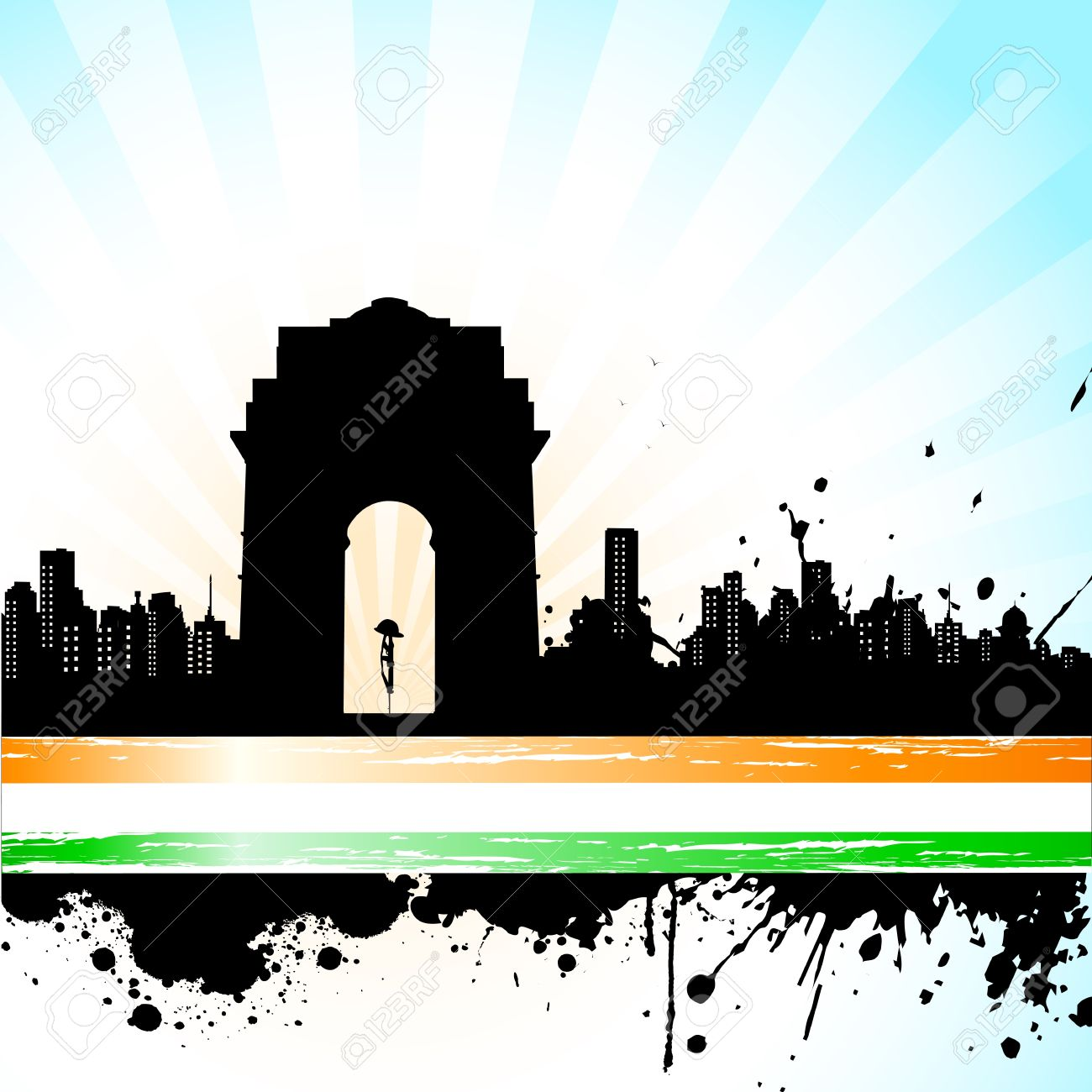 illustration of Indian monument on abstract tricolor background Stock Vector - 11779474