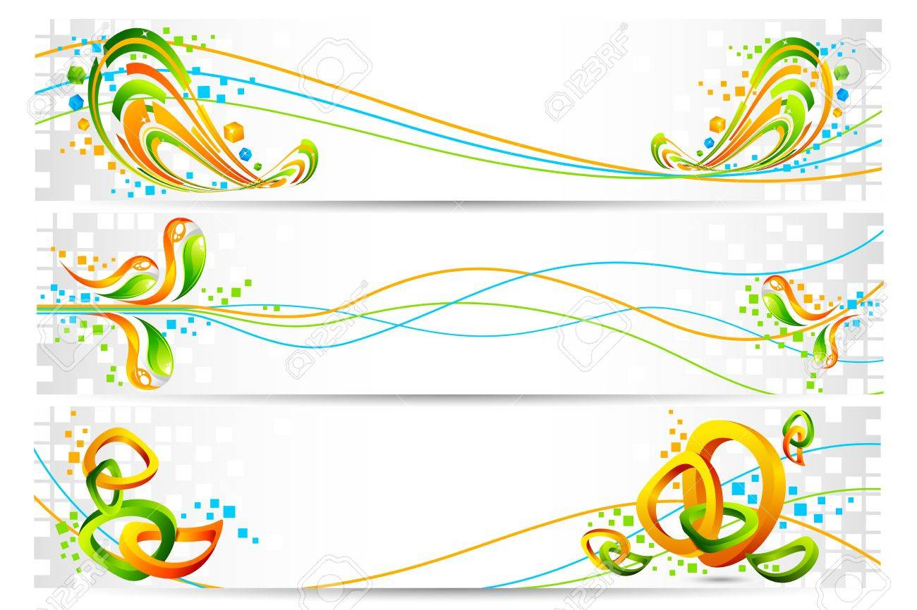 illustration of colorful banner in Indian flag tricolor with abstract design Stock Vector - 11779471