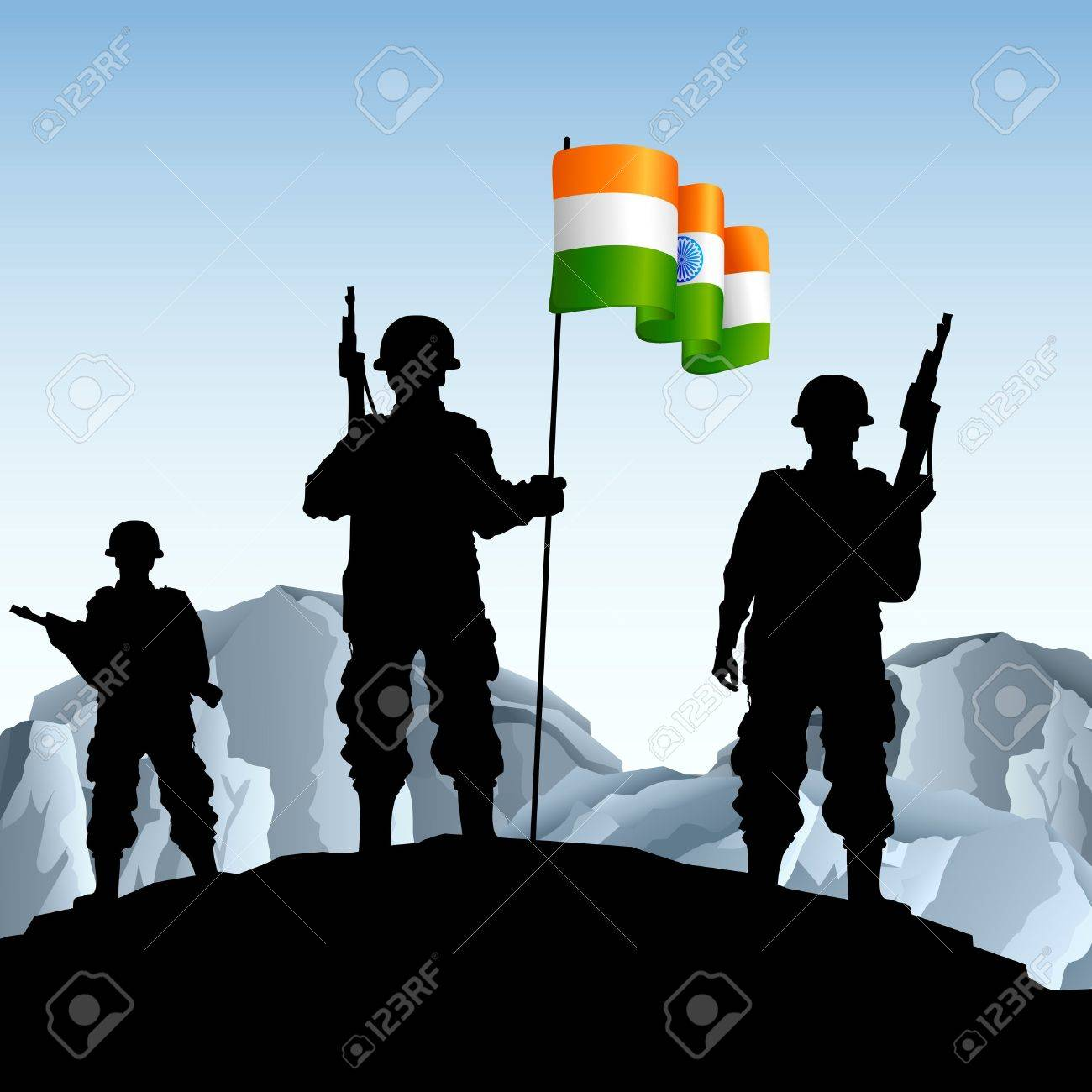 illustration of soldier standing on hill with Indian flag Stock Vector - 11779498