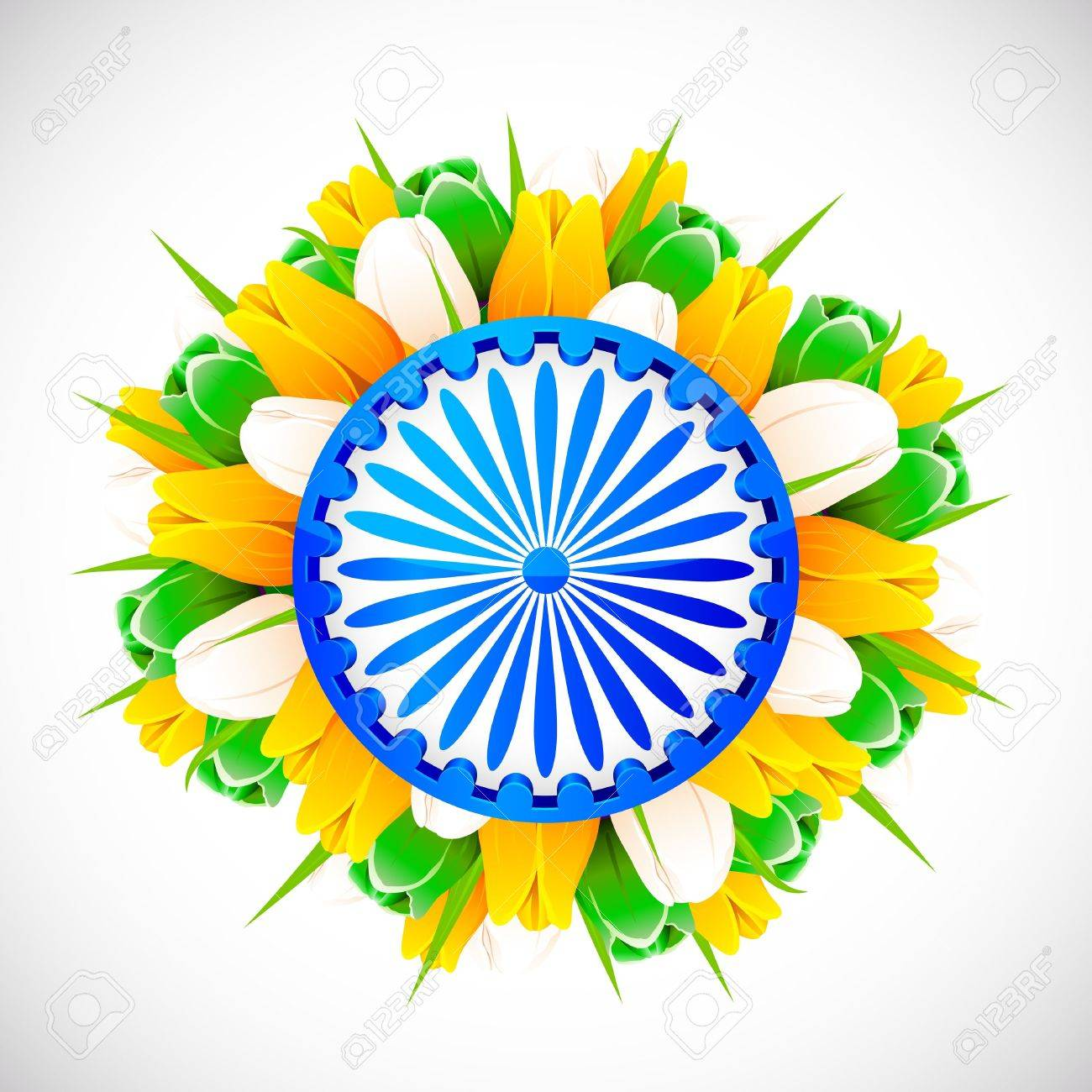 illustration of bunch of tulip flower in color of indian flag