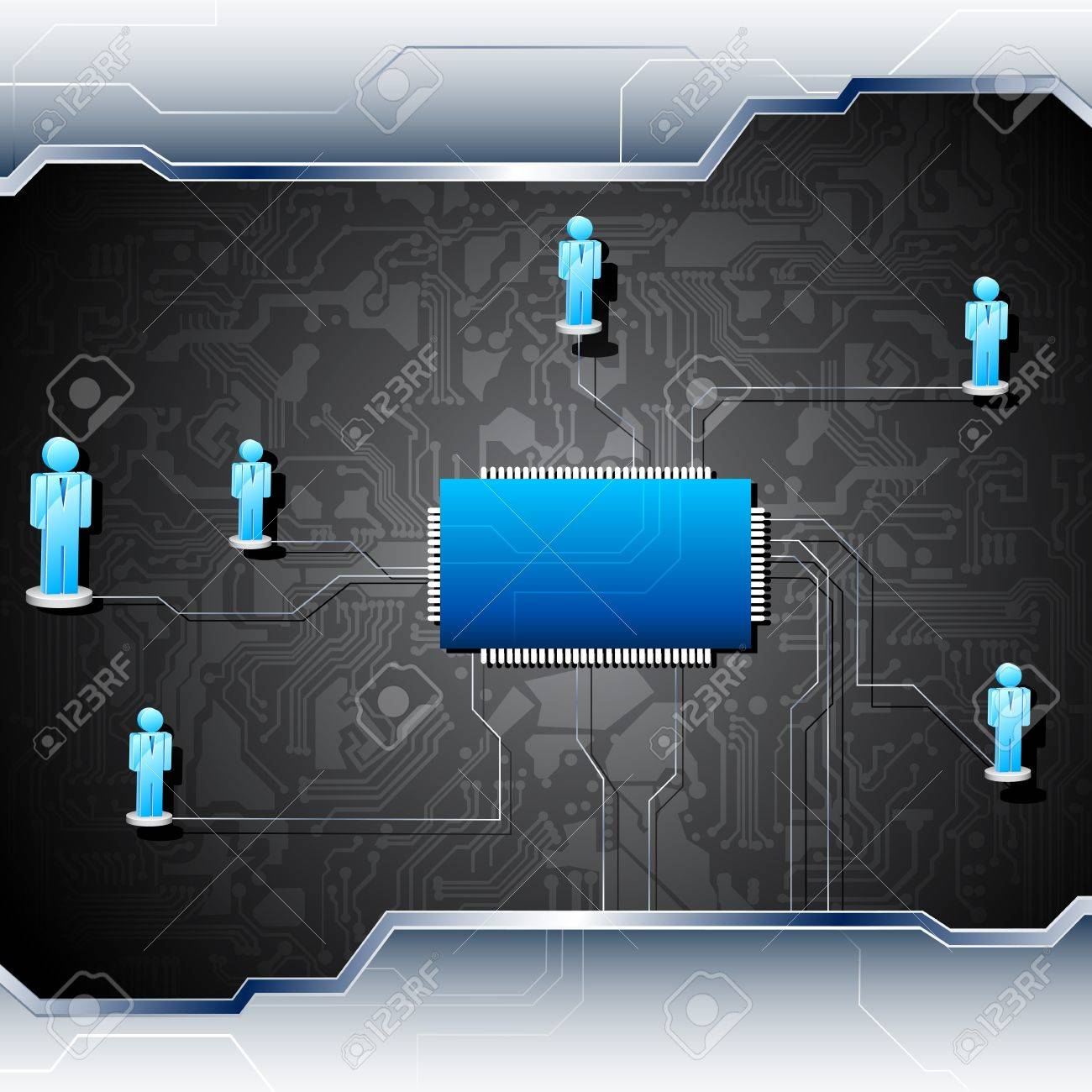 illustration of human figures connected in network on motherboard Stock Vector - 11915514