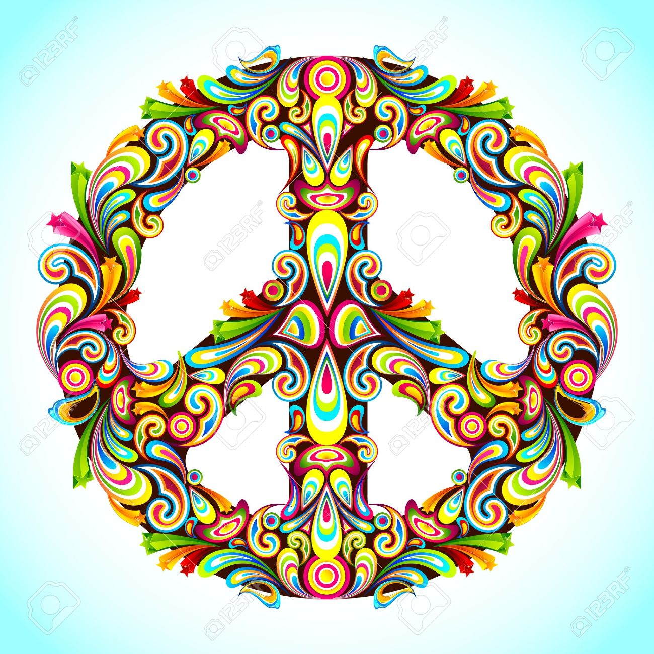 illustration of peace sign made of colorful swirl Stock Vector - 11949682