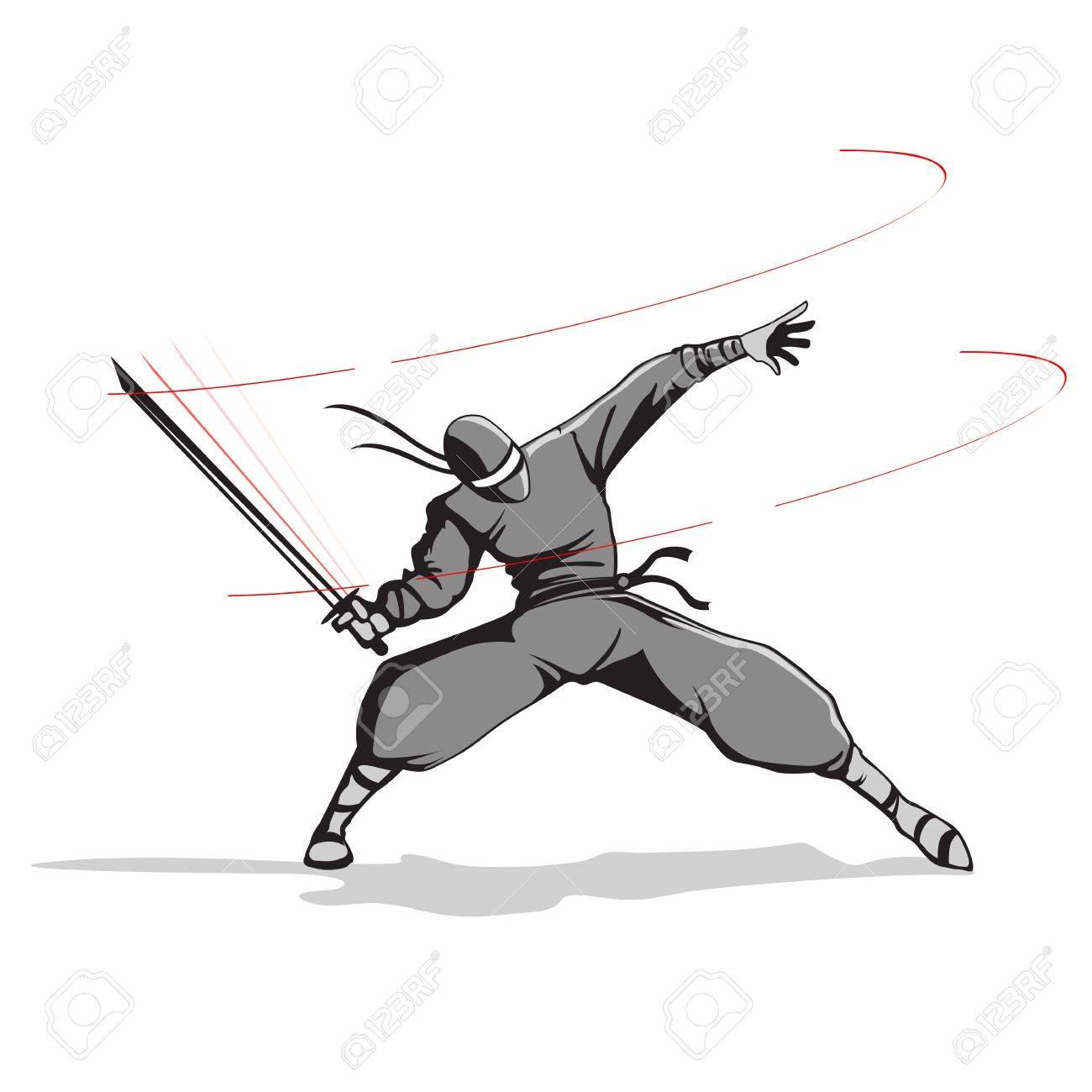 剣の攻撃忍者の戦闘機のイラスト の写真素材画像素材 Image 11999635