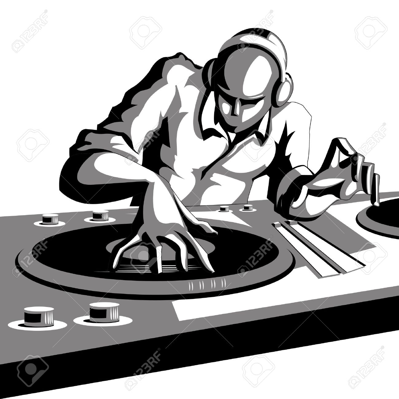 illustration of disco jockey playing music in discotheque Stock Vector - 12038831