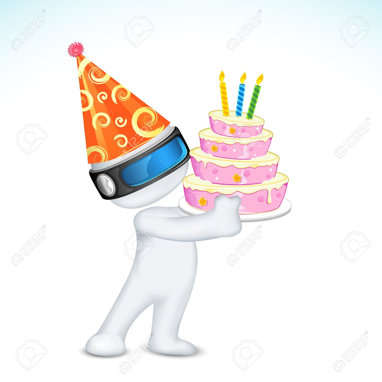 illustration of 3d man in vector fully scalable holding birthday cake Stock Vector - 12038848