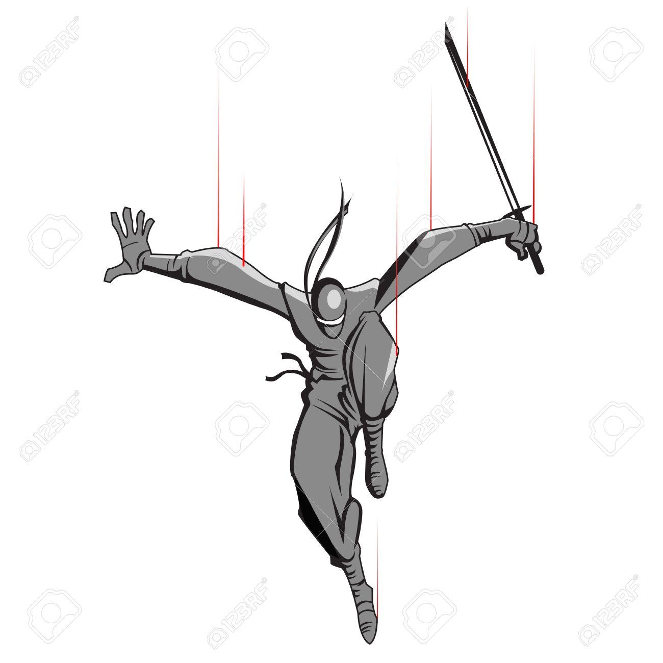 剣の攻撃忍者の戦闘機のイラストのイラスト素材ベクタ Image 12136680