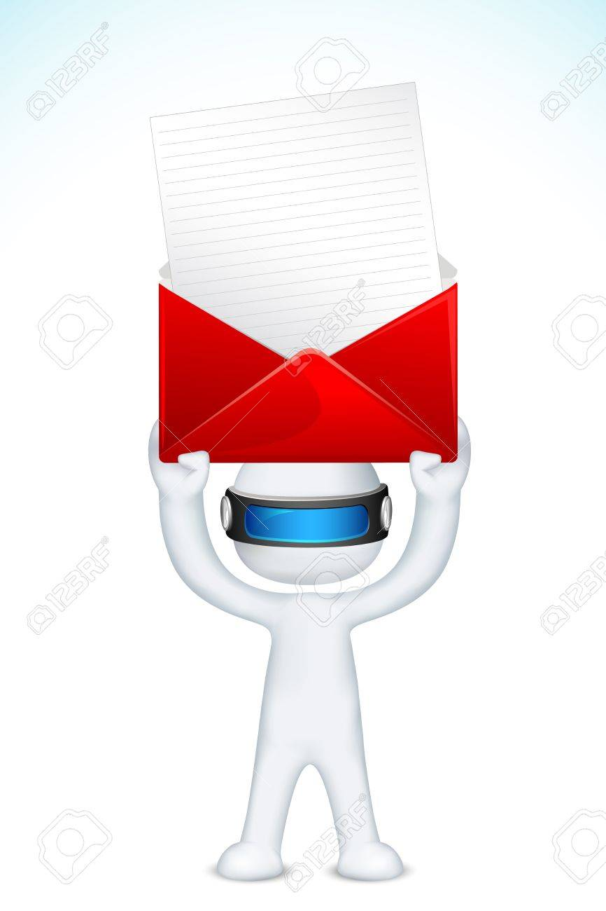 llustration of 3d man in vector fully scalable deliverying postal envelope Stock Vector - 12136646