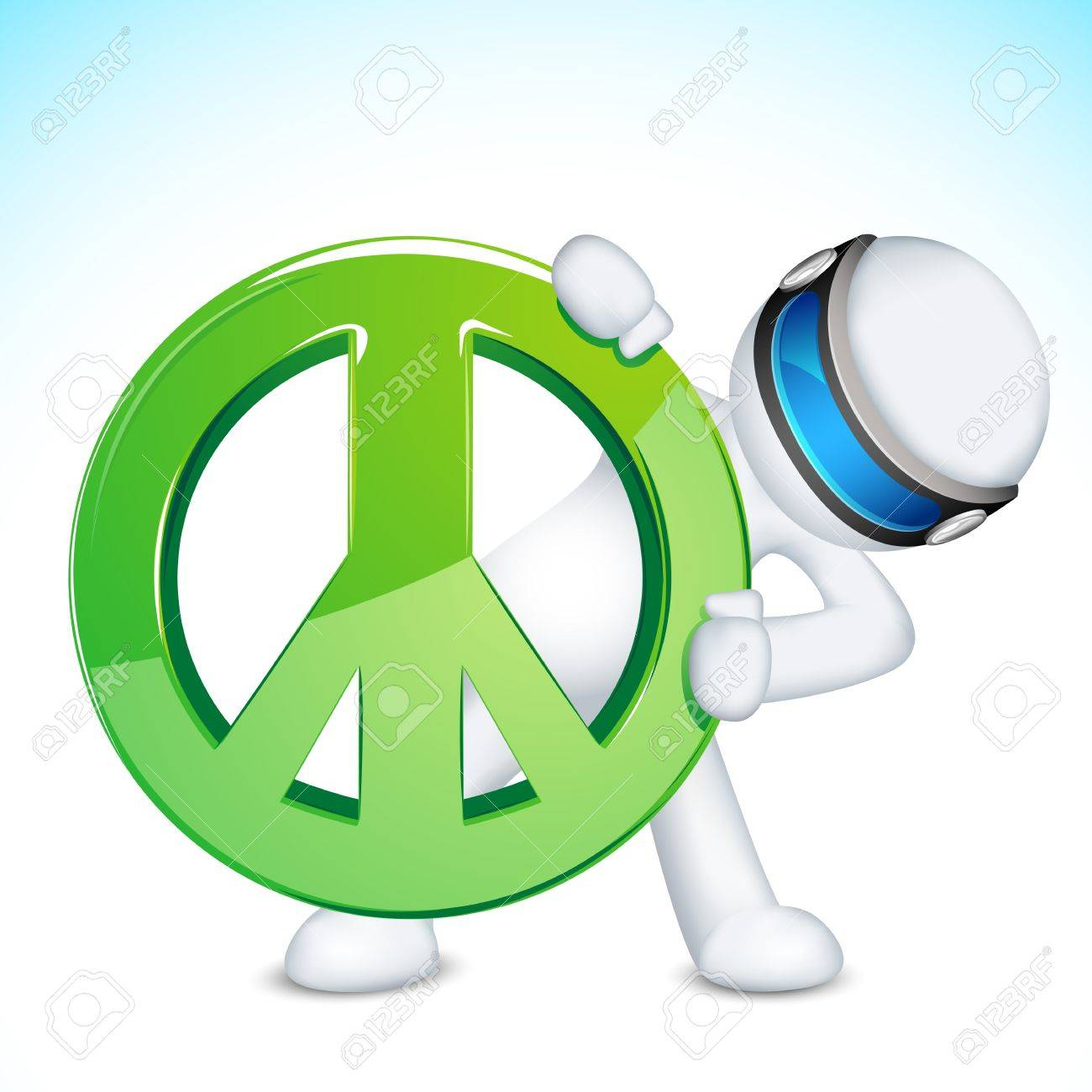 illustration of 3d man in vector fully scalable with peace sign Stock Vector - 12136592