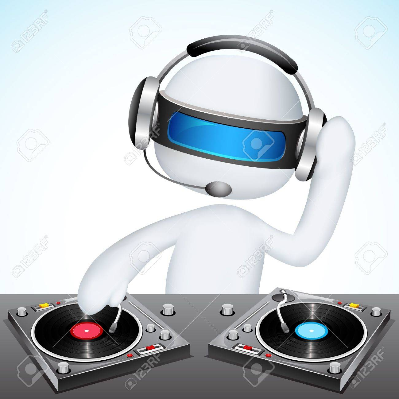 illustration of 3d jockey in vector fully scalable mixing song Stock Vector - 12368941