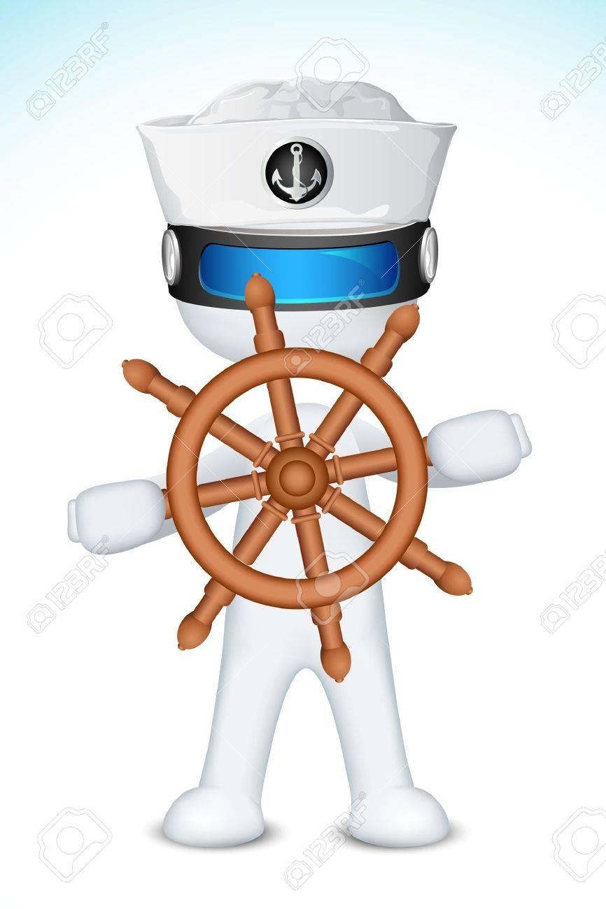 完全に船のステアリング ホイールを持つスケーラブル ベクターに 3 D 美