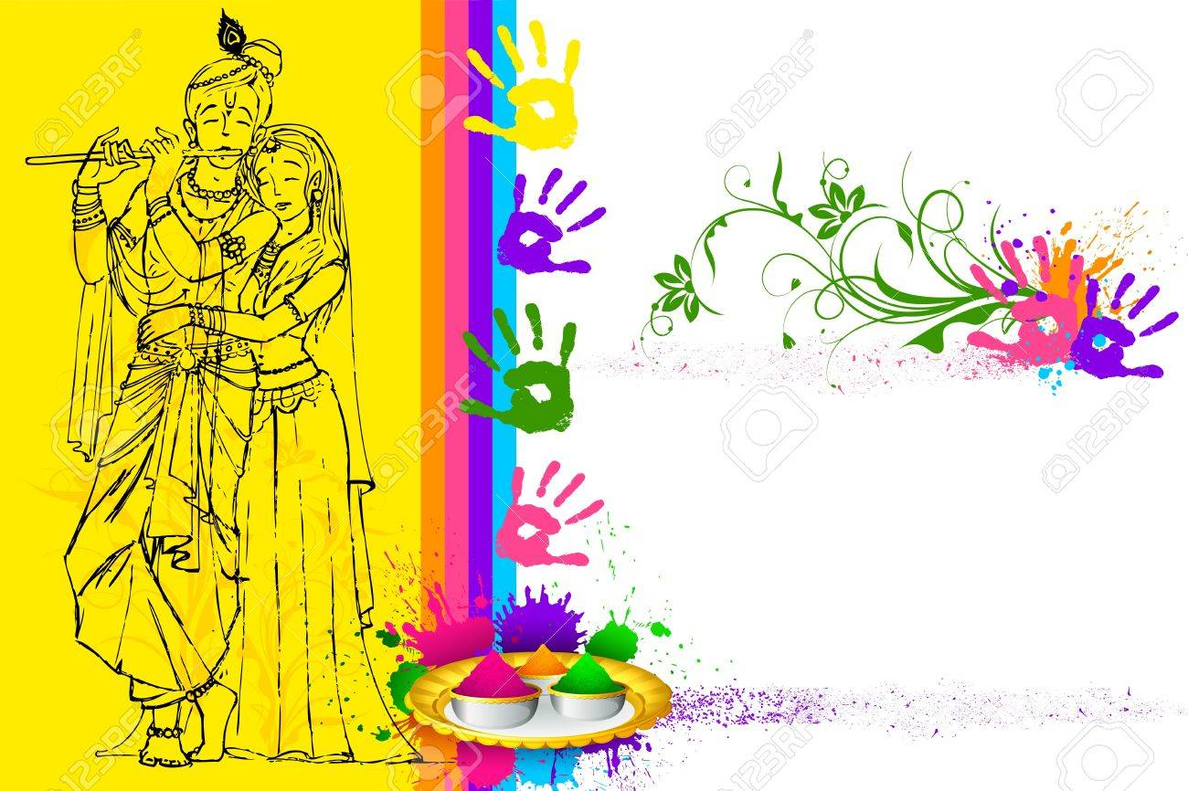 Illustration Of Radha Krishna On Holi Wallpaper Royalty Free ...