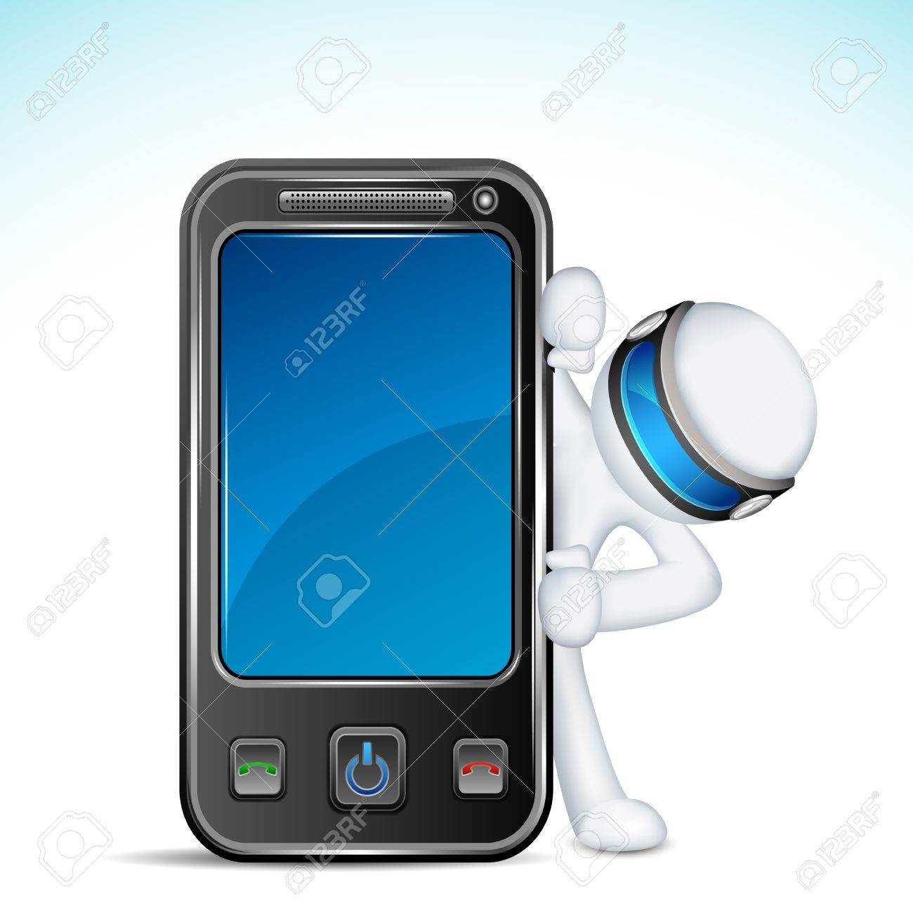 illustration of 3d man in vector fully scalable with mobile phone Stock Vector - 12369003