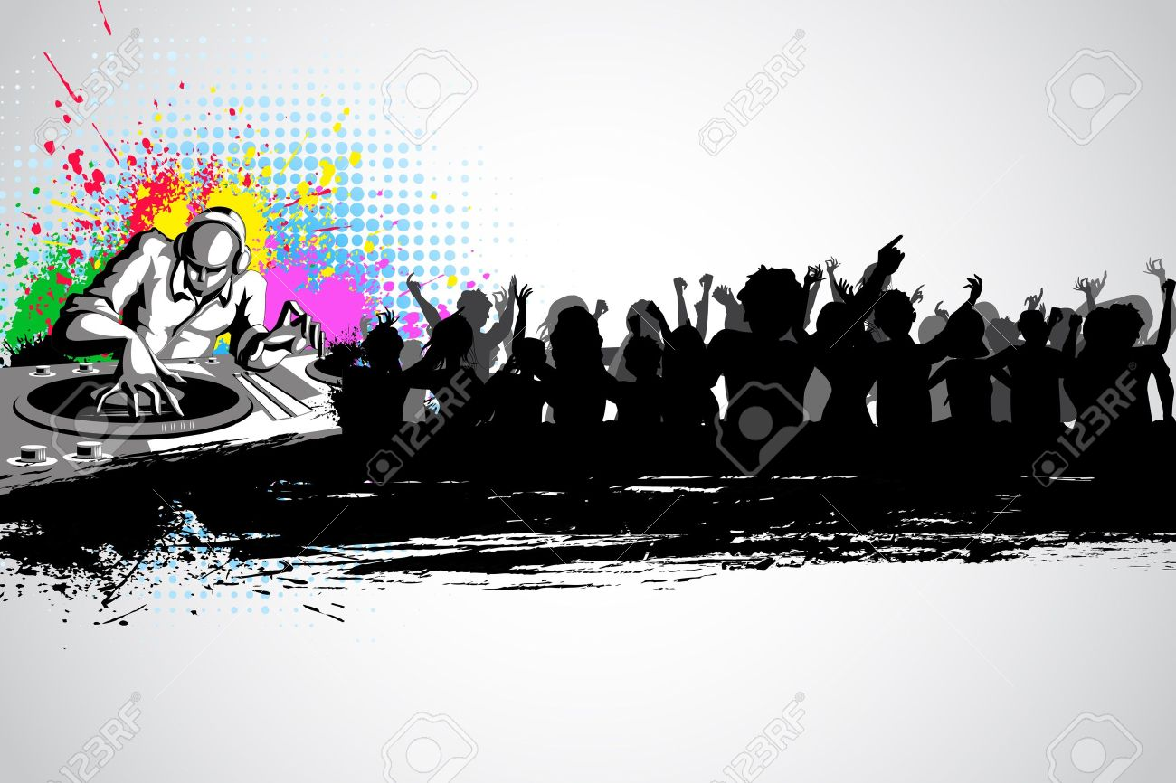 illustration of disco jockey with party crowd on musical background Stock Vector - 12493008