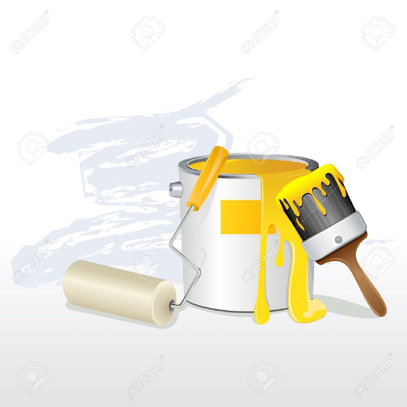 illustration of paint bucket with paint brush and roller Stock Vector - 12493011