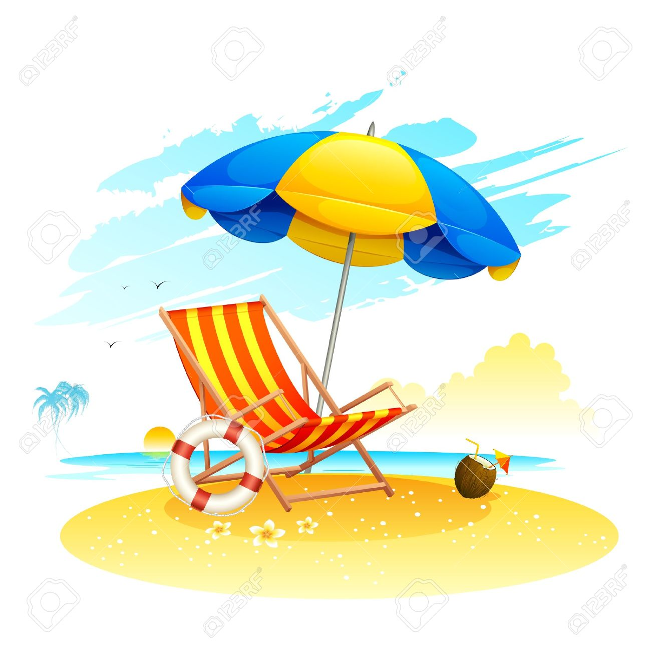 Beach chair with umbrella painting - Beach Chairs Illustration Of Recliner Under Garden Umbrella In Sea Beach