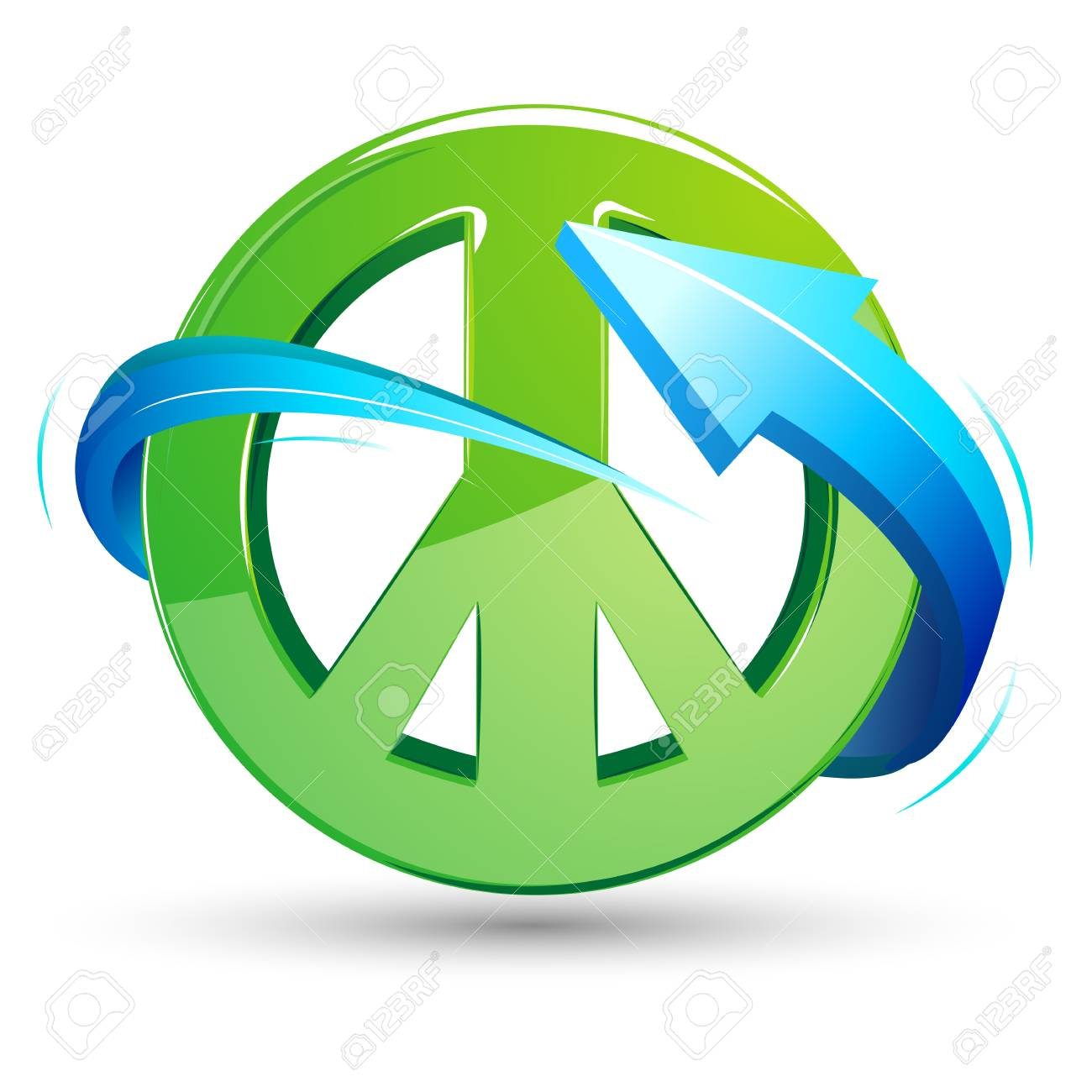 Illustration Of Peace Sign With Arrow Around On White Background