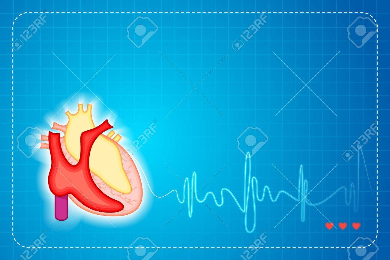 illustration of lifeline coming out of heart on graph background