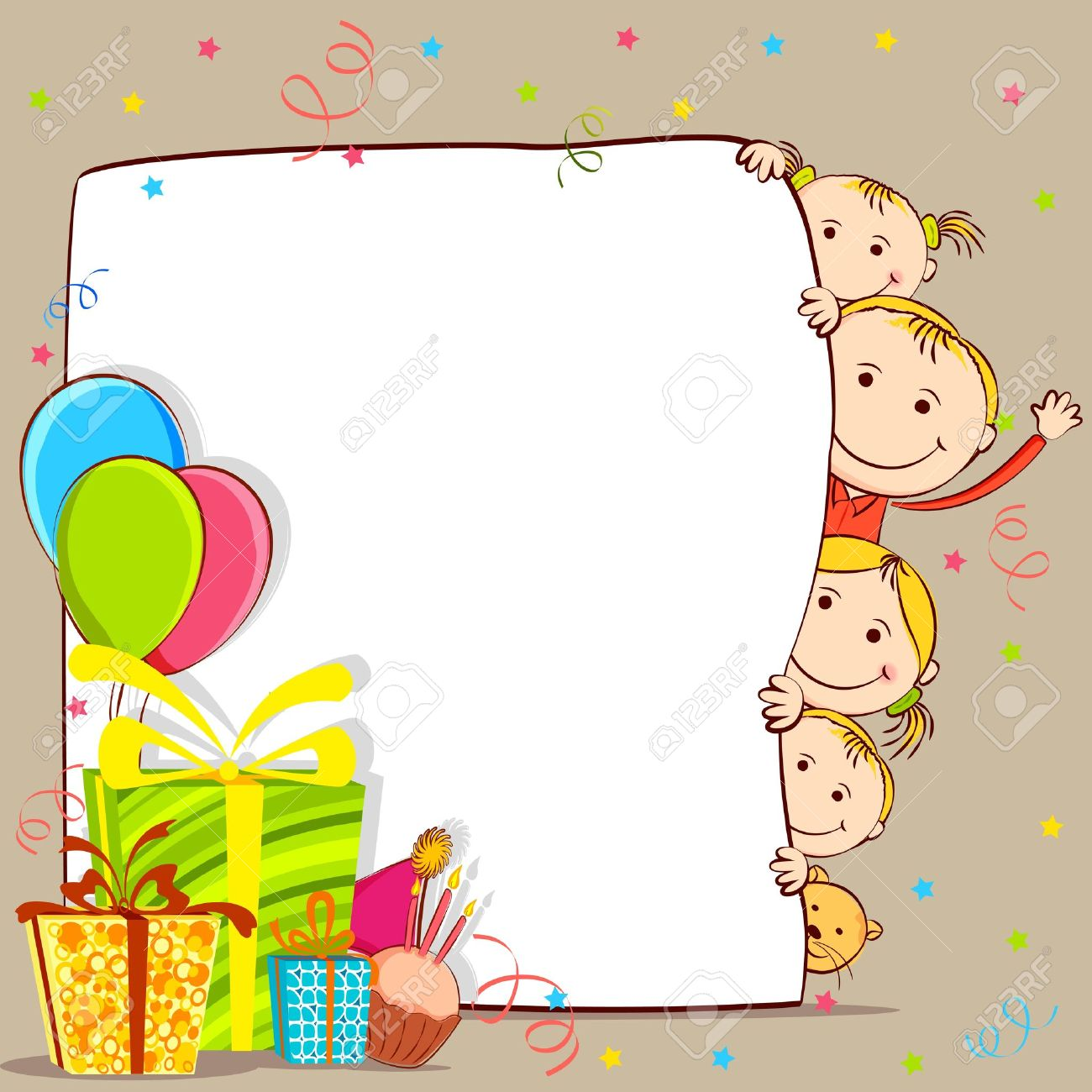 illustration of kids peeping behind birthday card with gift and balloon stockfoto 12763056