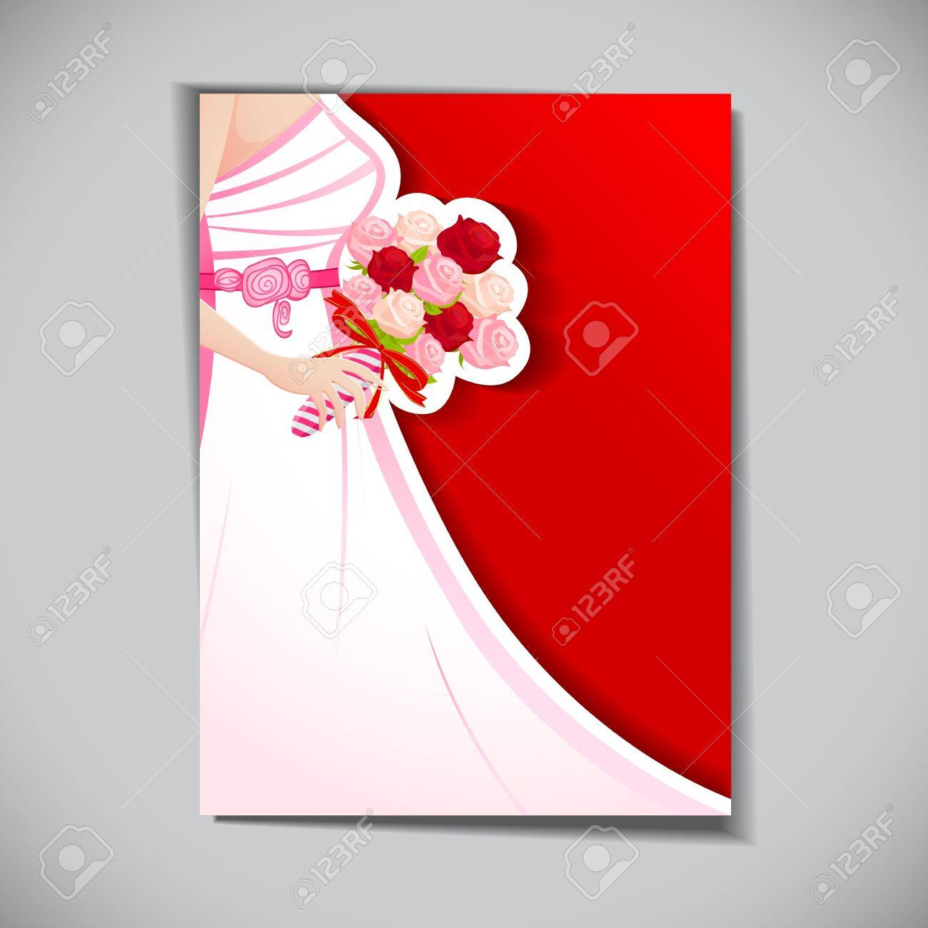 illustration of bride with rose bouquet in wedding card Stock Vector - 12763195