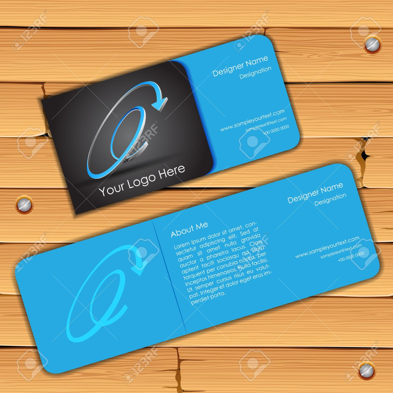Illustration Of Front And Back Of Colorful Visiting Card Royalty ...