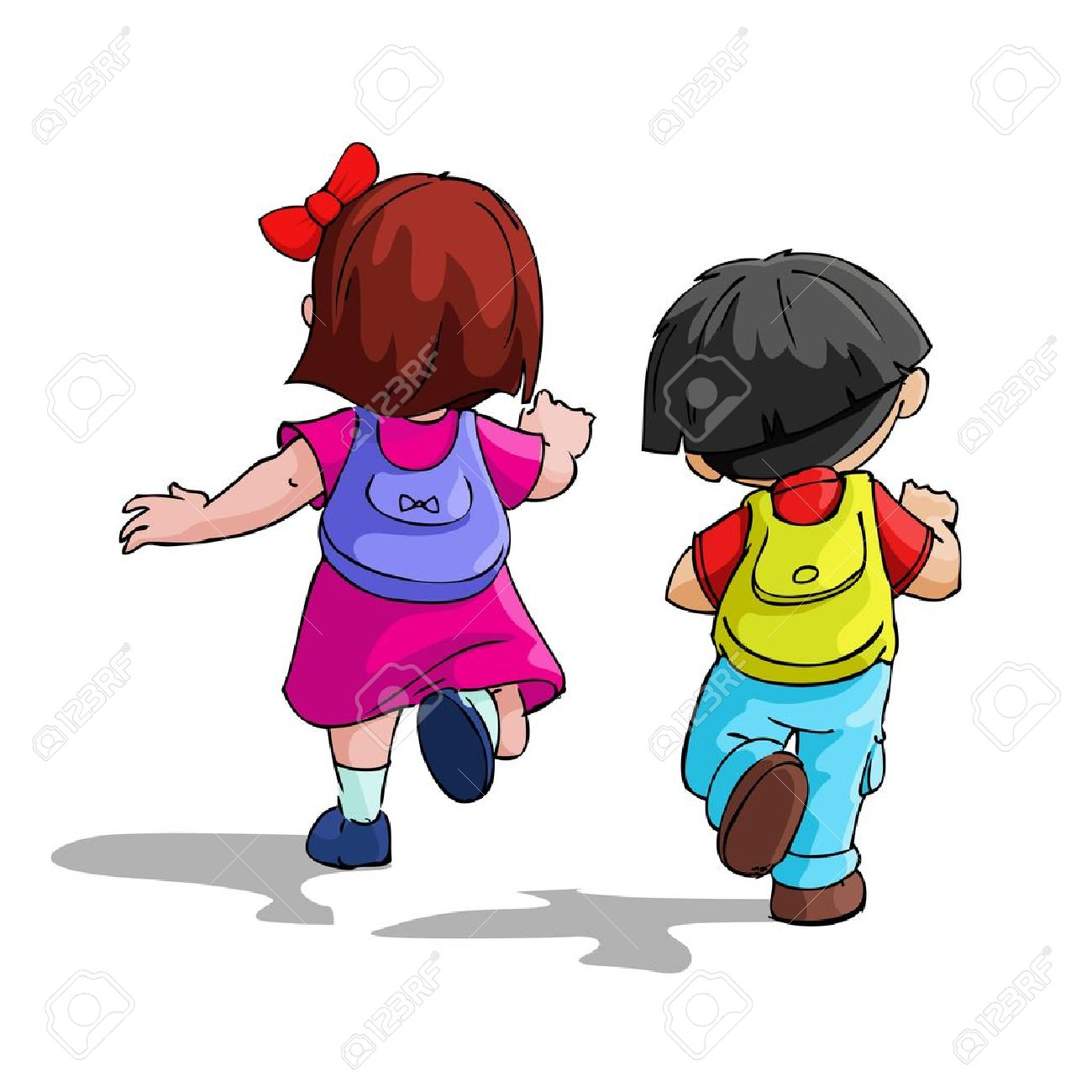 illustration of kids going to school with bag pack royalty free