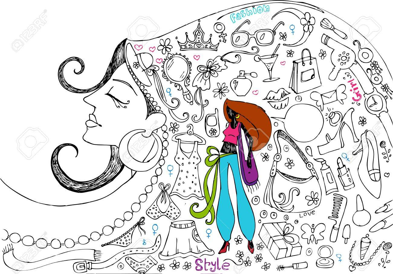 illustration of female realted beauty and fashion doodle Stock Vector - 13003322