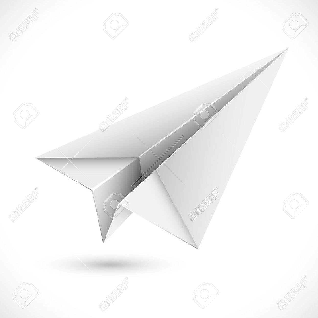 Darstellung Der Origami-Papier Flugzeug Auf Weißem Hintergrund ...
