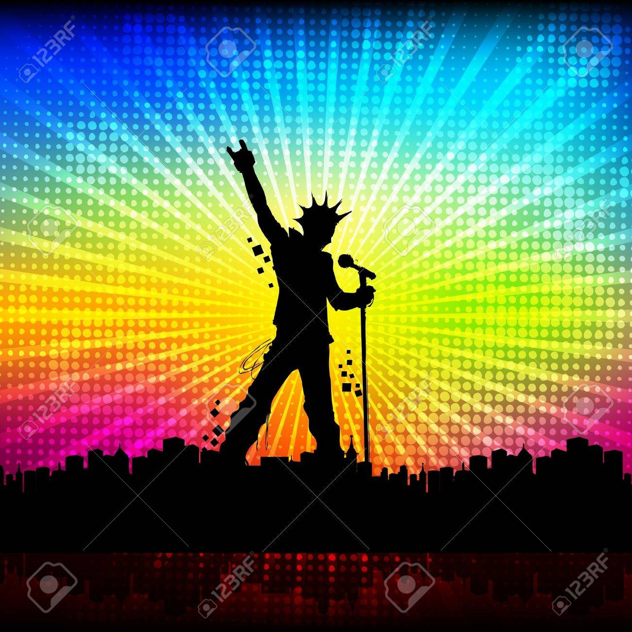 illustration of singer performing with mike on colorful cityscape background Stock Illustration - 13071620