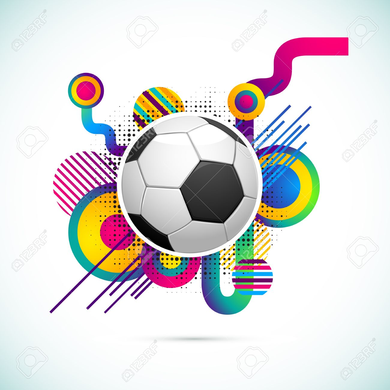 illustration of soccer ball on abstract colorful background Stock Illustration - 13071567
