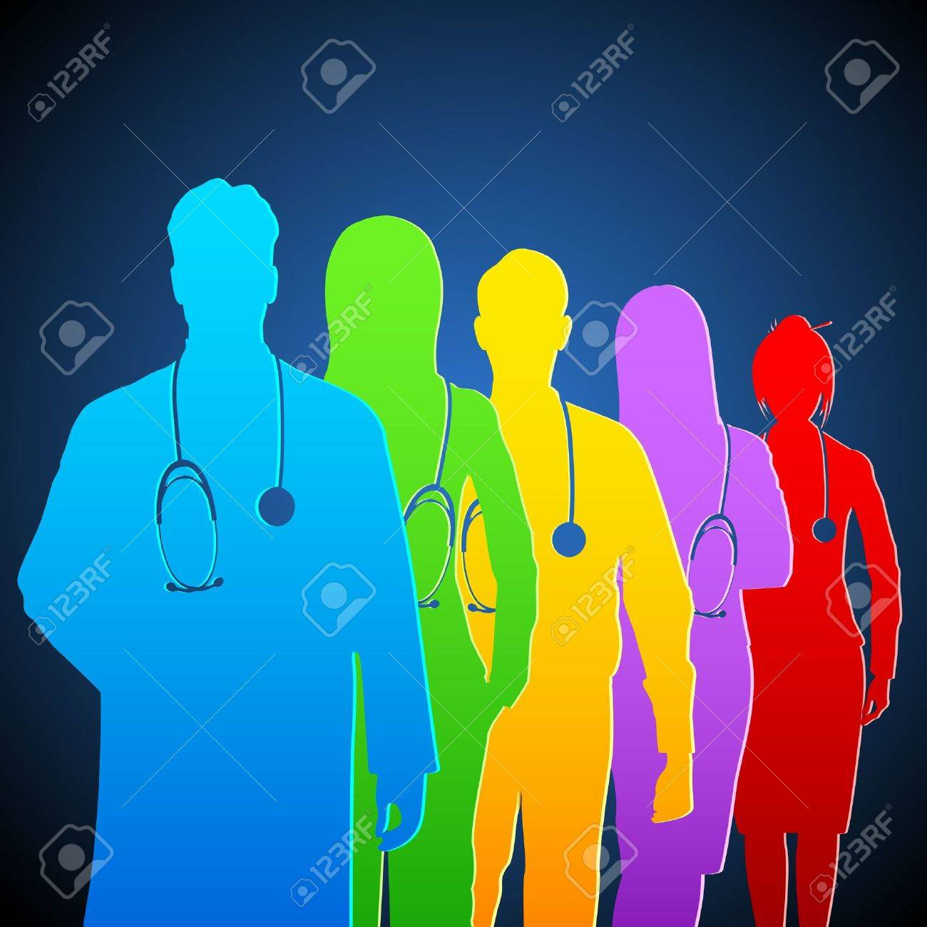 illustration of team of colorful doctor with stethoscope - 13142815