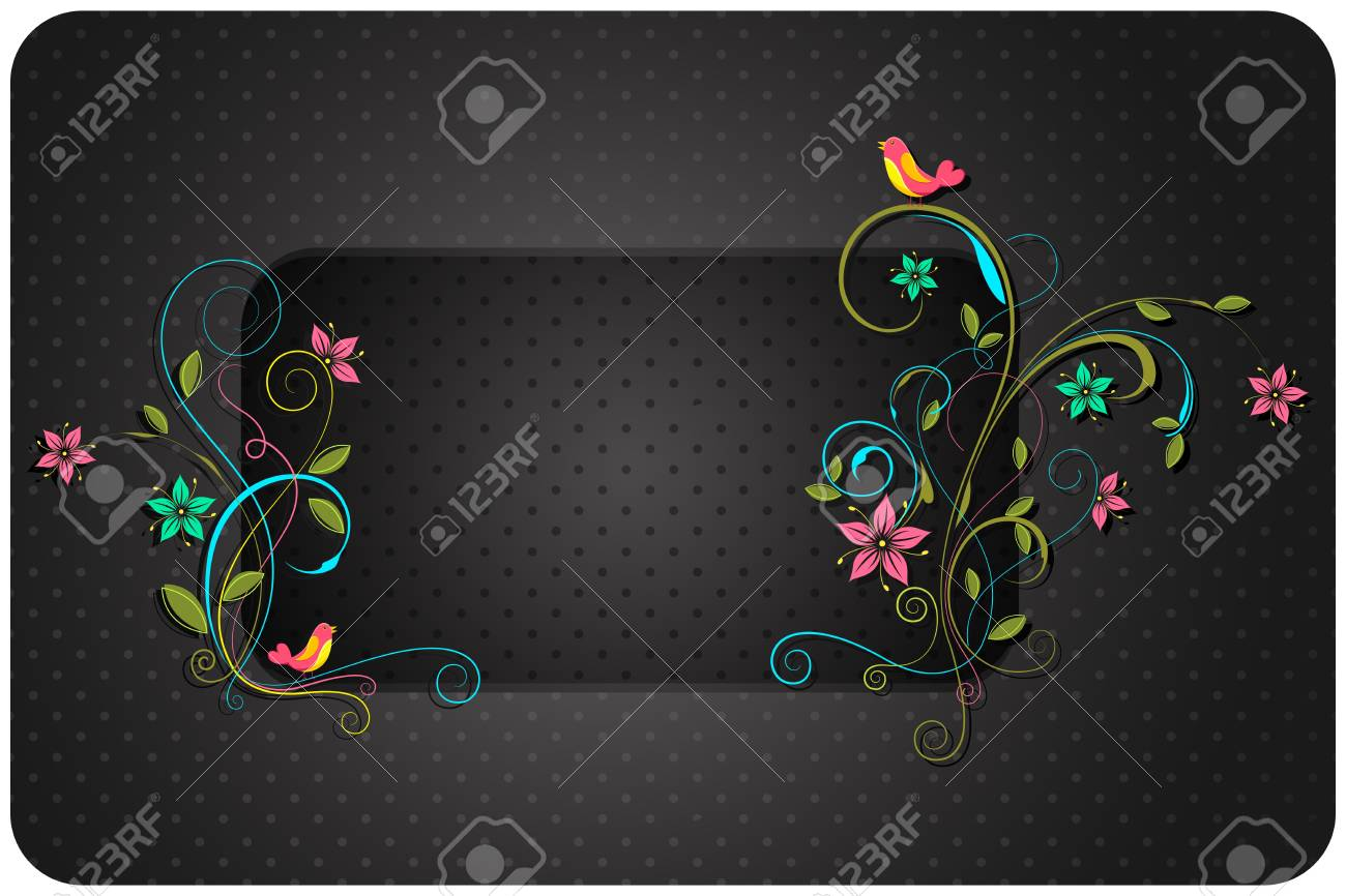 i;;ustration of colorful floral swirl with copyspace Stock Vector - 13142823