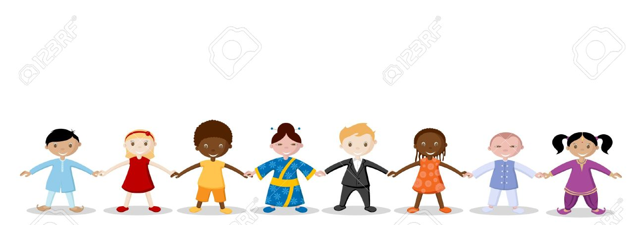 illustration of happy children holding hand of each other royalty rh 123rf com Helping Hands Clip Art parent holding childrens hand clipart