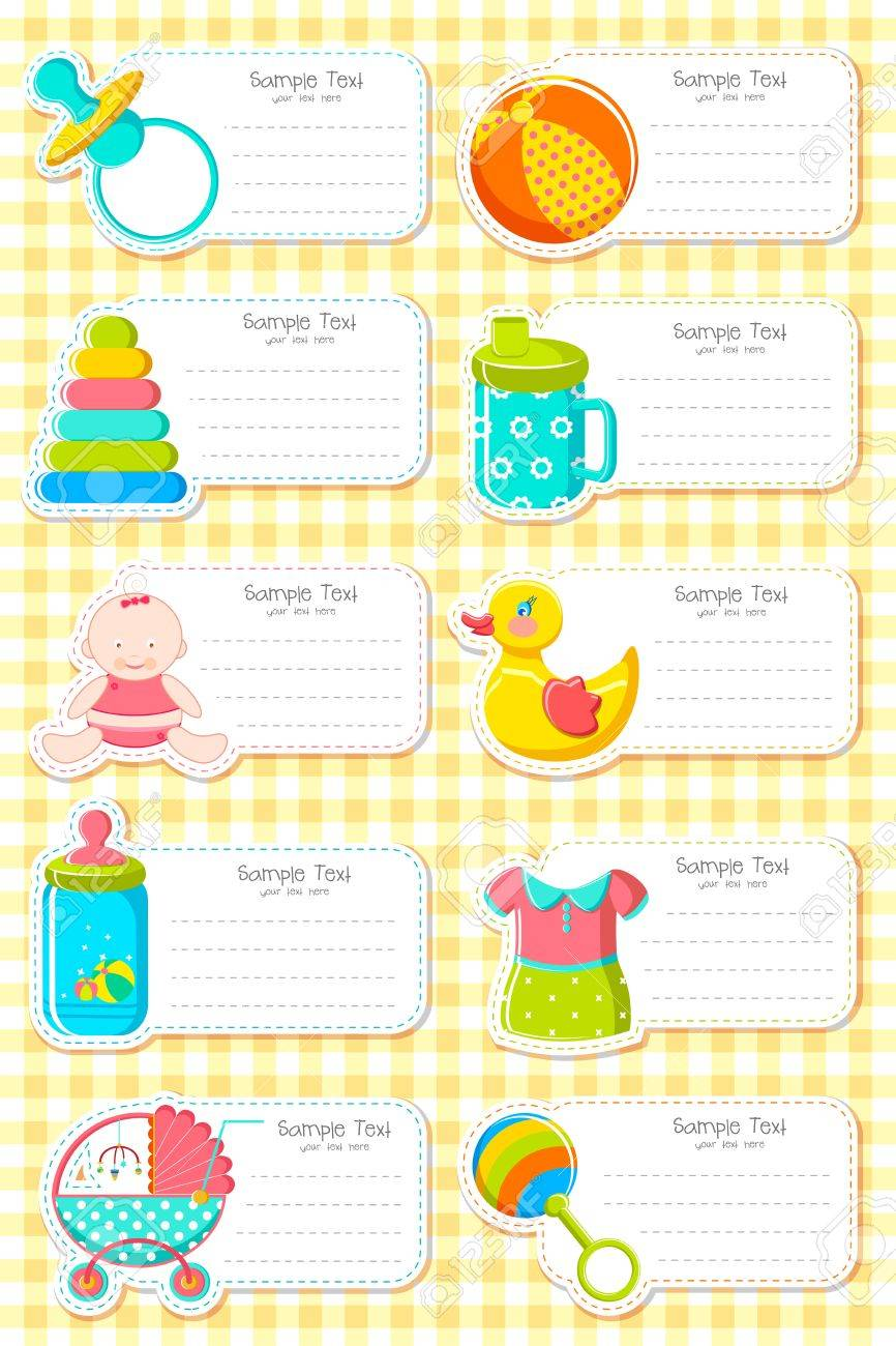 illustration of set of label with baby element Stock Vector - 13285464