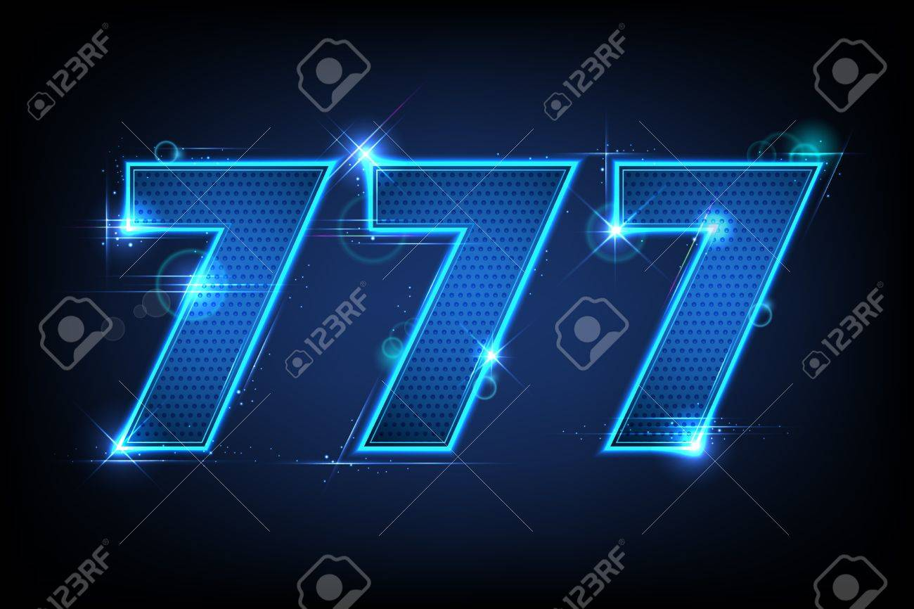 illustration of lucky triple seven jackpot on abstract background - 13322760