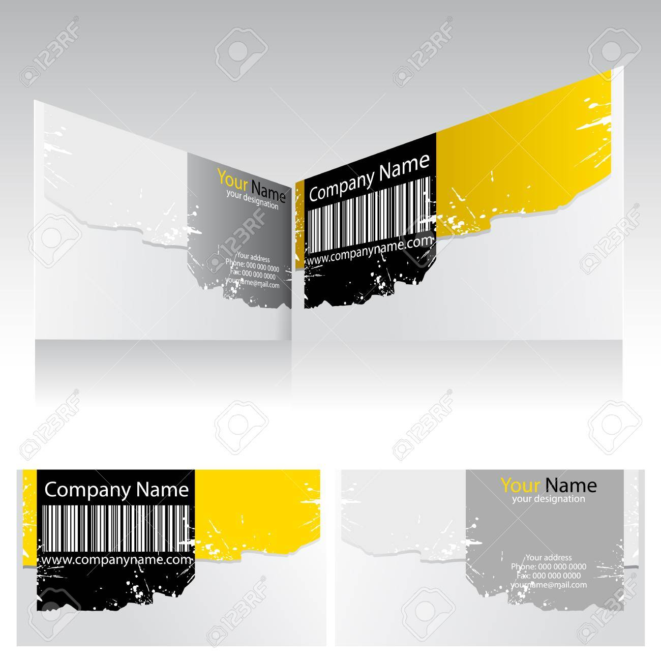 Illustration of front and back of corporate business card with illustration of front and back of corporate business card with barcode stock vector 13379015 colourmoves