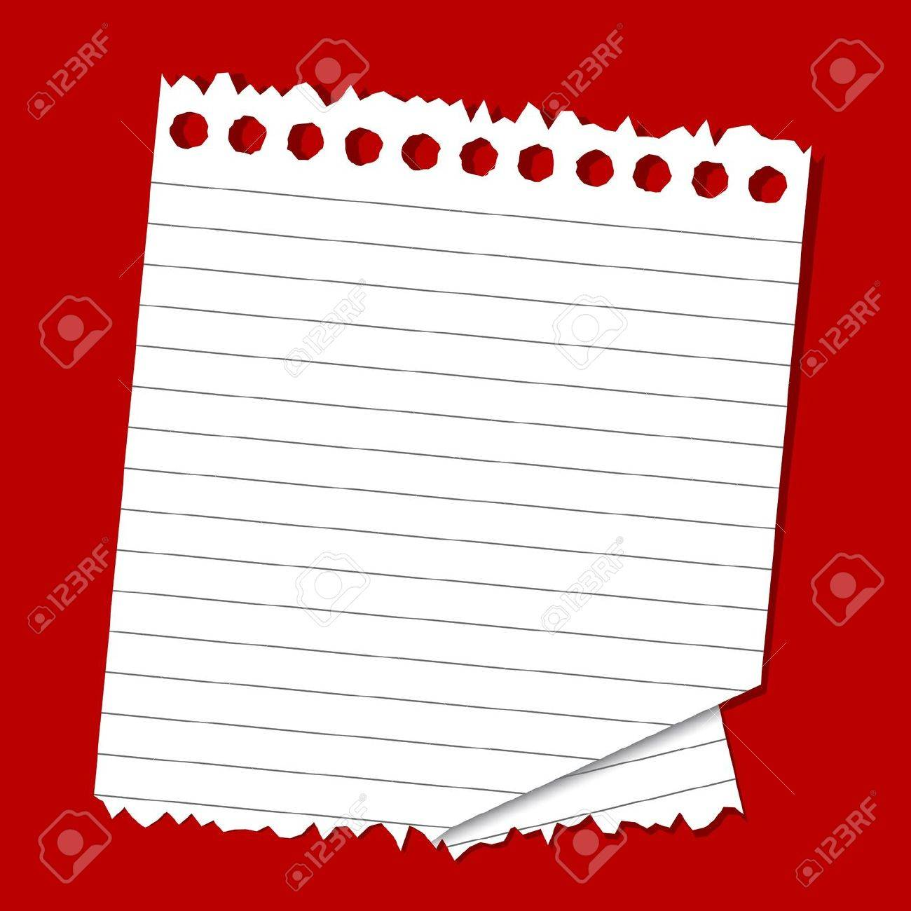 illustration of lined paper on plain red background Stock Vector - 13379005