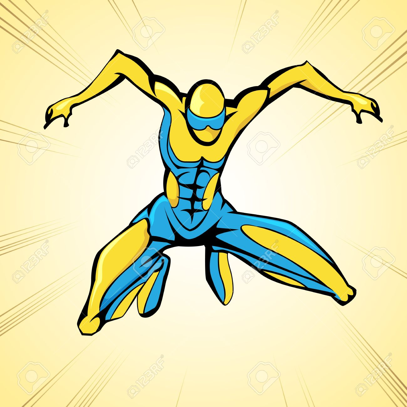 illustration of jumping superhero on abstract background Stock Vector - 13475322