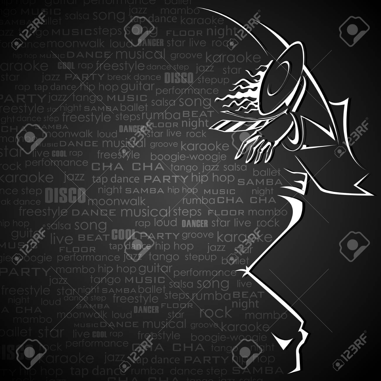 illustration of dancer in abstract background with dance word cloud Stock Vector - 13475336