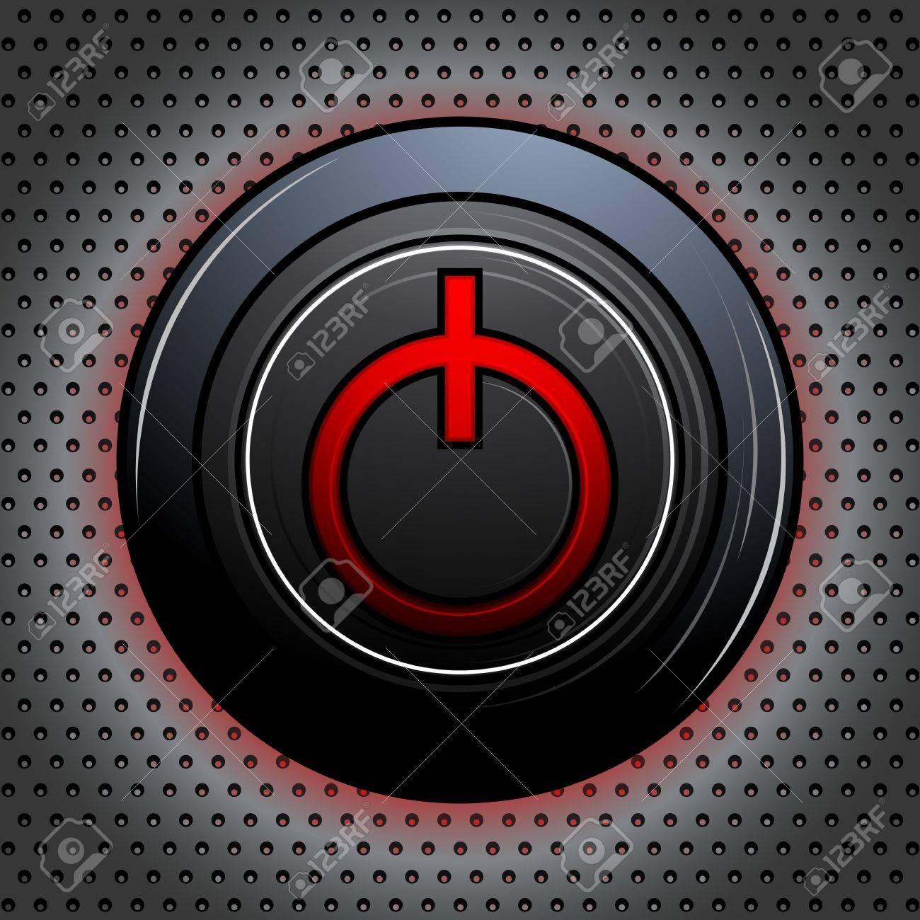 illustration of power button on metallic textured background Stock Vector - 13475332