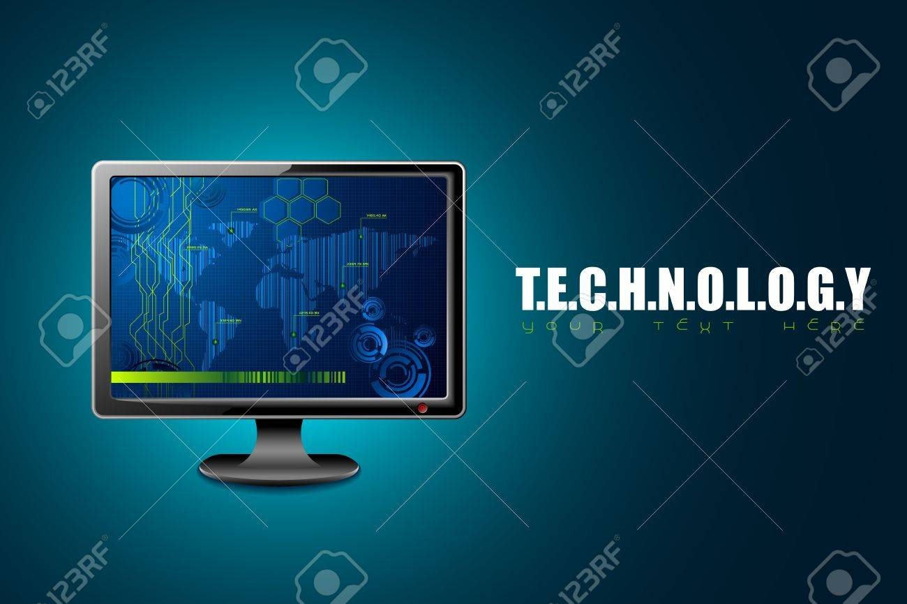 illustration of computer monitor on technology background Stock Vector - 13475430