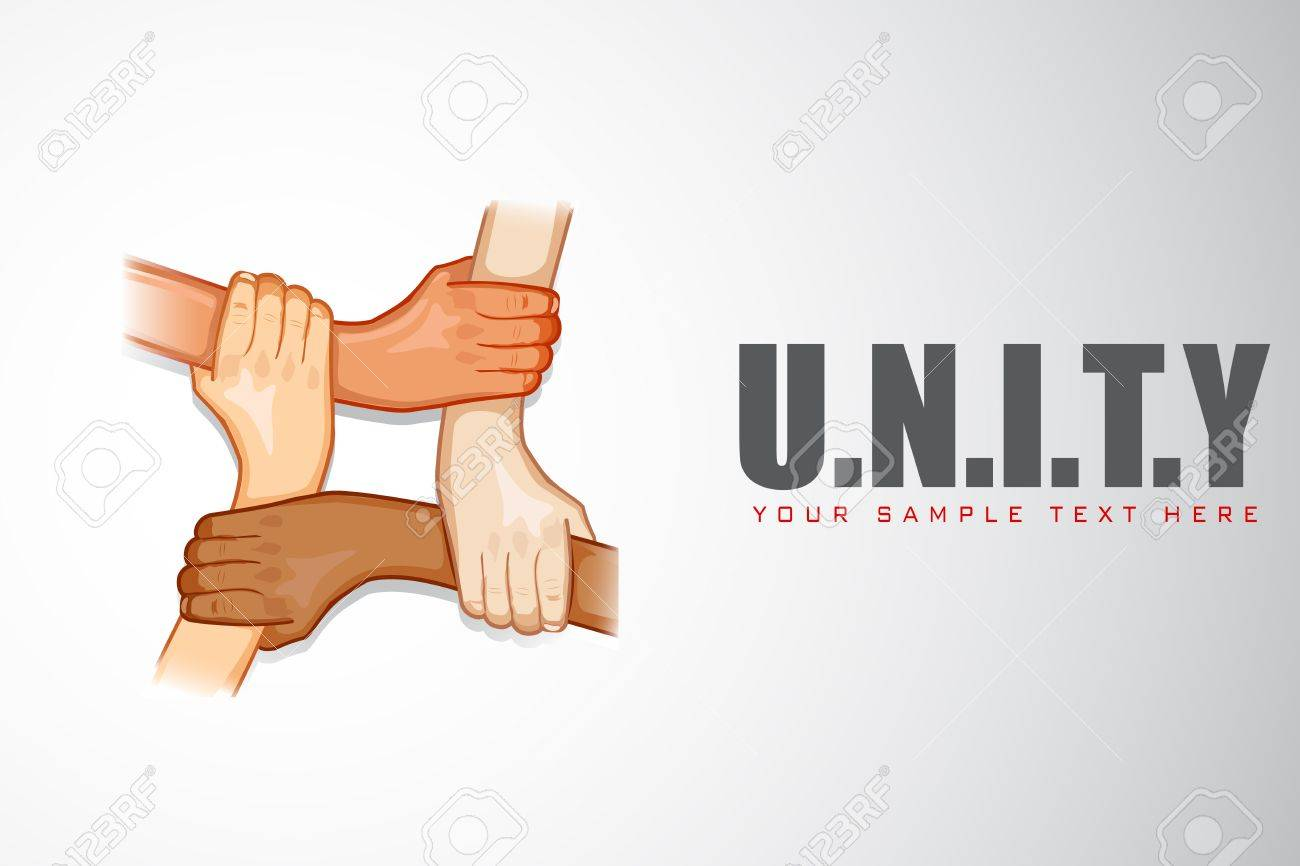 illustration of hands holding each other on motivational unity background Stock Vector - 13475401