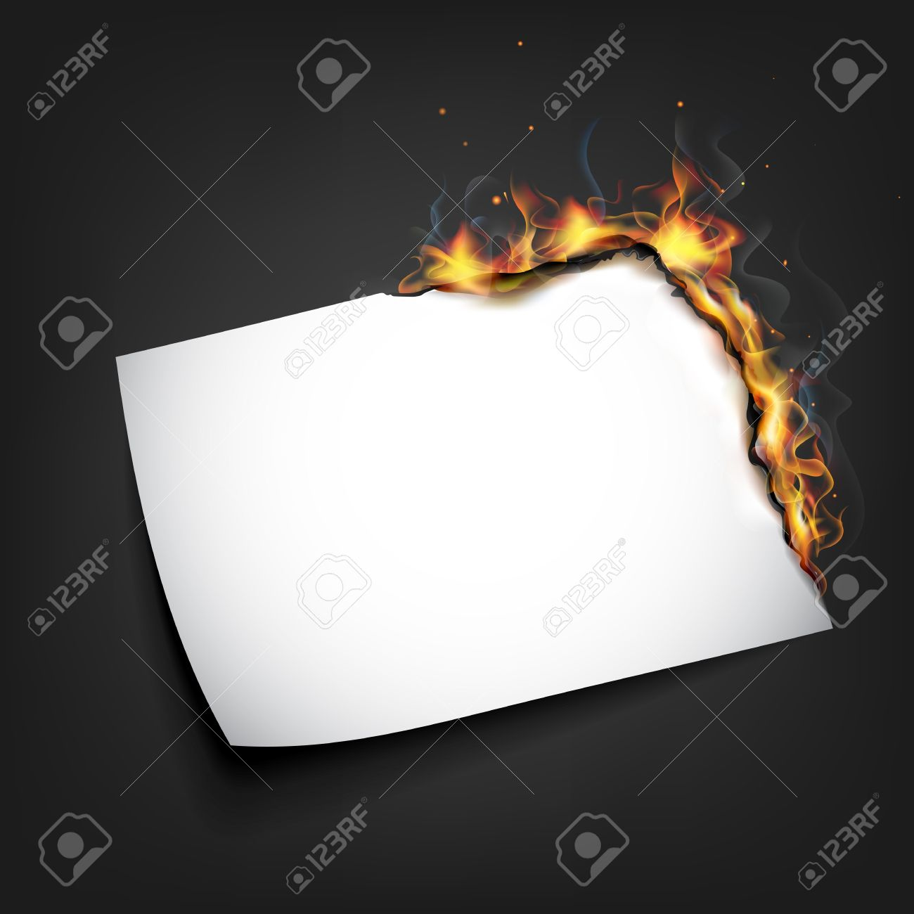 illustration of burning piece of paper with copy space Stock Vector - 13598362