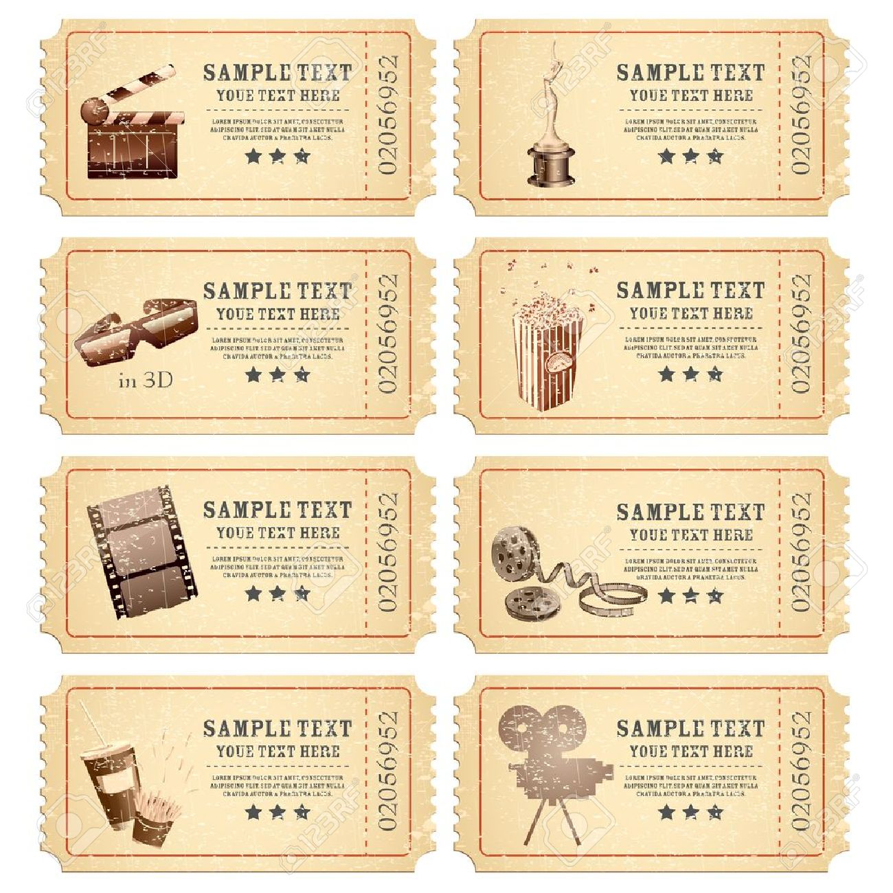 illustration of set of vintage movie ticket with different film related object - 13598373