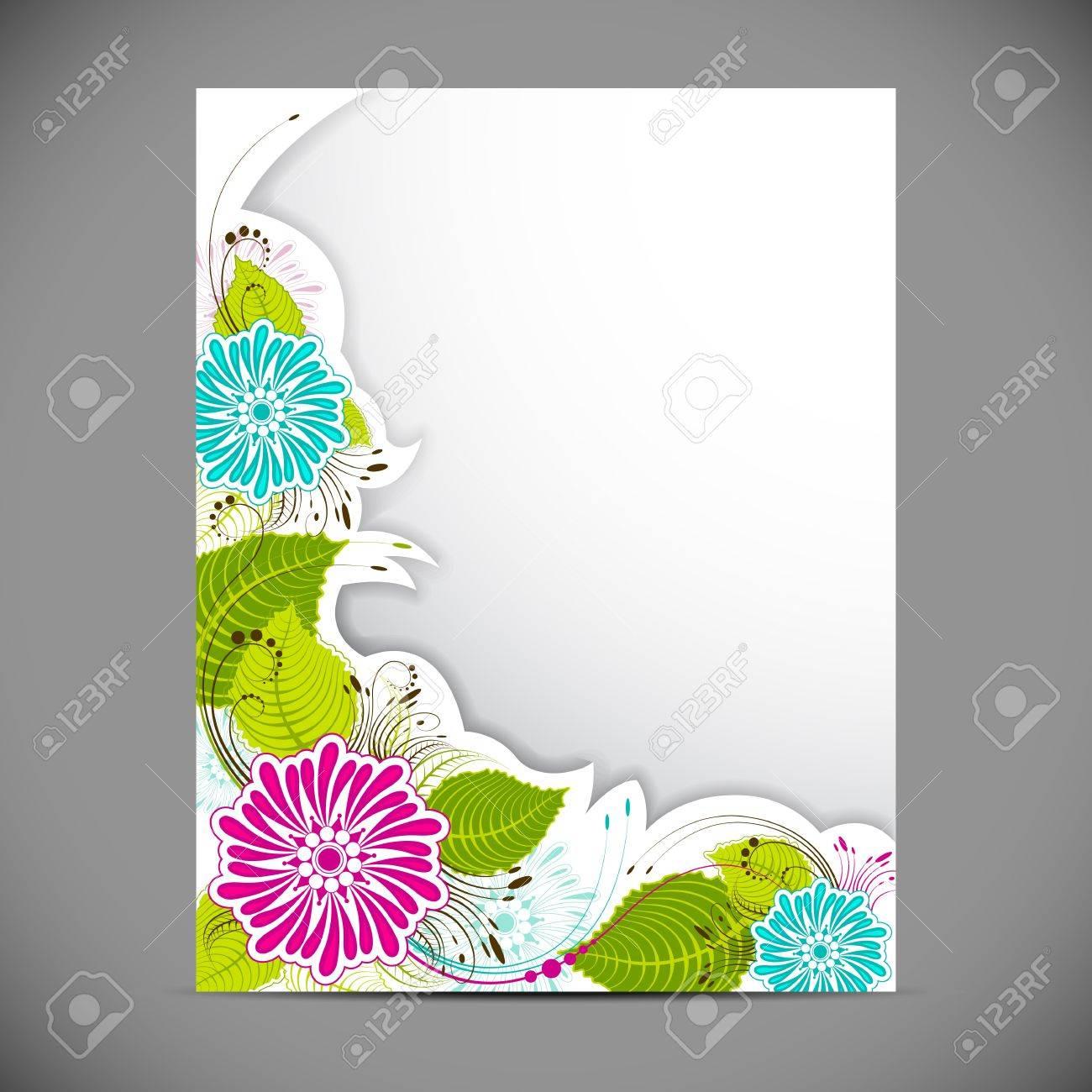 illustration of floral pattern on blank card Stock Illustration - 13712856