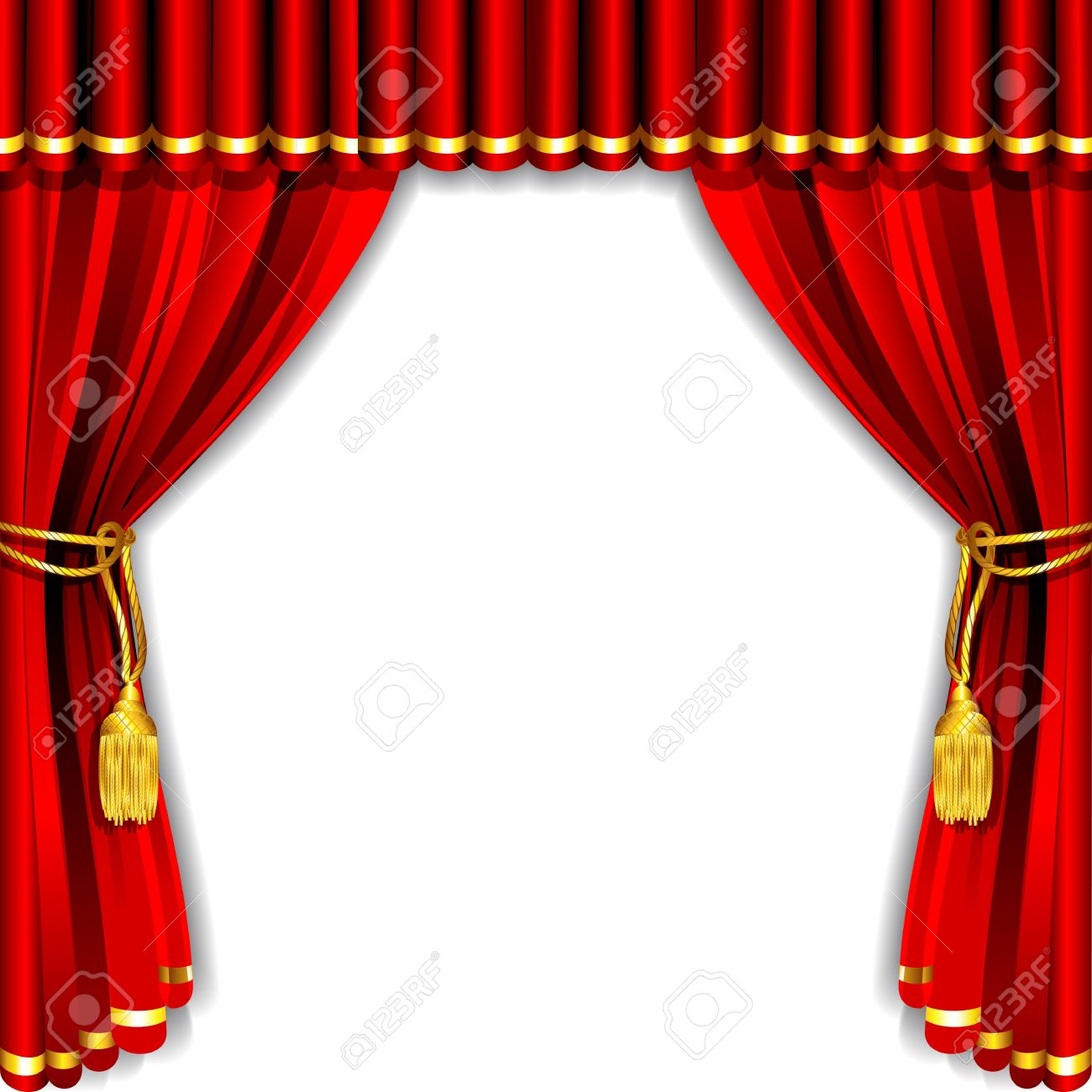 Illustration Of Silk Stage Curtain With White Backdrop Stock Vector