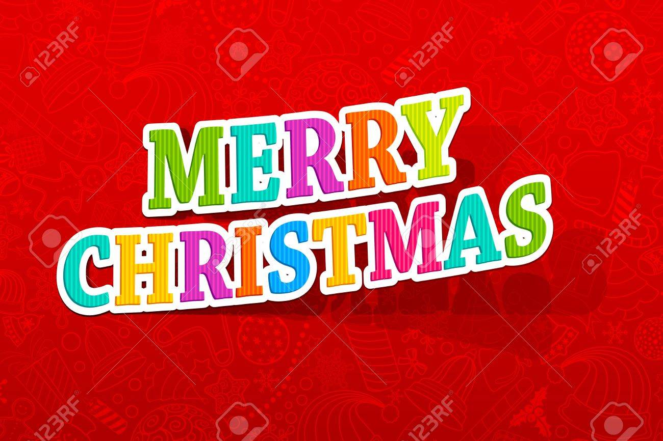 illustration of colorful merry christmas text on backdrop with seamless pattern Stock Vector - 13777114