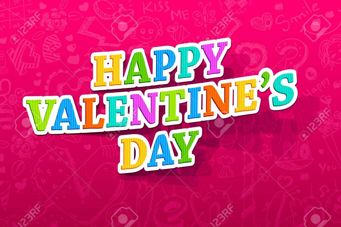 illustration of happy valentines day text on abstract background Stock Vector - 13926459