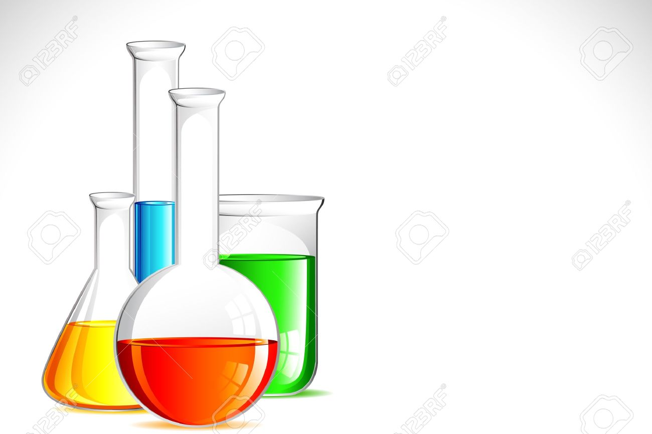 Illustration Of Laboratory Apparatus With Colorful Solution ...