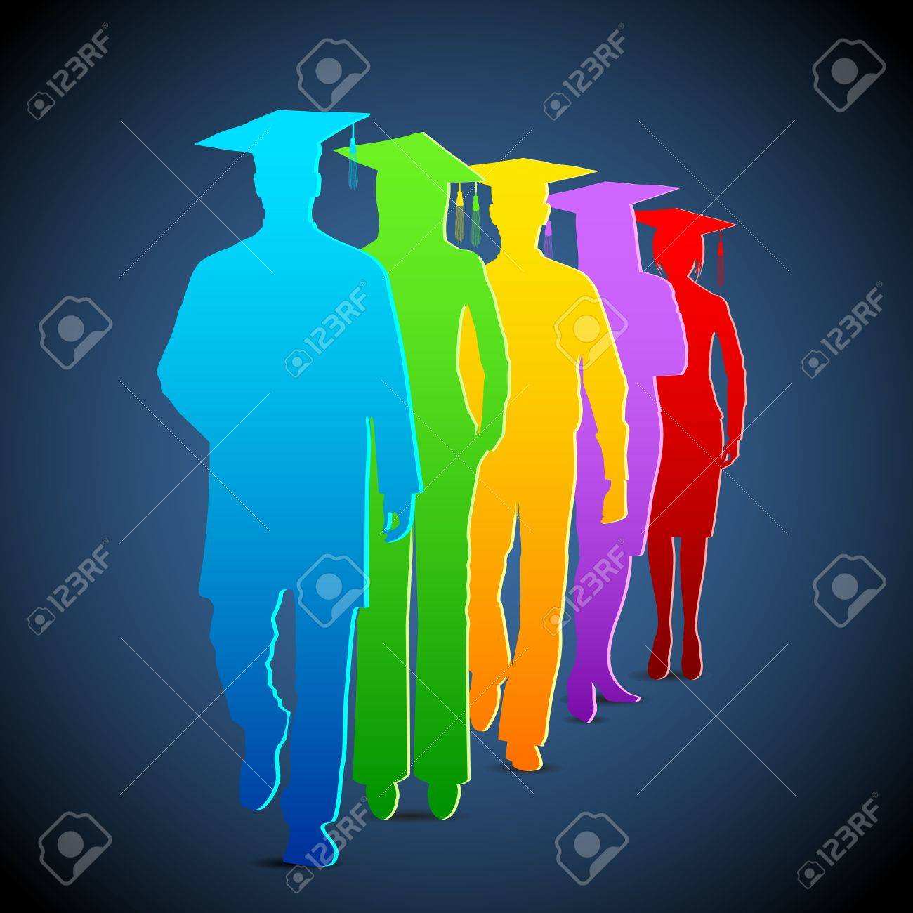 illustration of colorful graduates with mortar board Stock Vector - 14126077